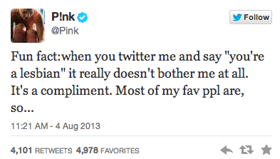 Pink on Twitter