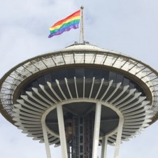 Pride flag atop the Seattle Space Needle