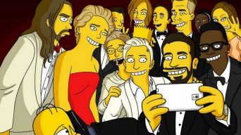 The Simpons recreation of Ellen DeGeneres' Oscars selfie