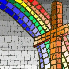 Stained glass cross with rainbow