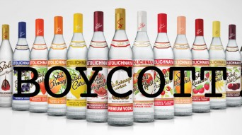 Stoli vodka bottles with the word boycott across them