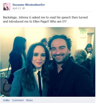 Suzanne Westenhoefer Ellen Page GLAAD FB