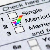 Tax form with rainbow check for married