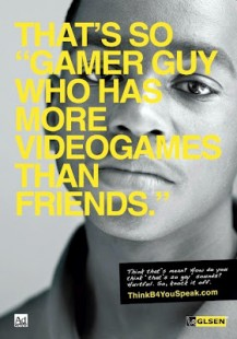 Poster of young boy with print that says 'That's so gamer guy who has more videograms than friends'