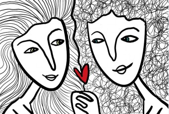 Two women with heart