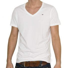 Man in white v-neck t-shirt