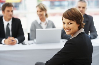 Woman smiling at interview