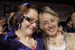 Houston Mayor Annise Parker, right, and new wife Kathy Hubbard, her parnter of 23 years.