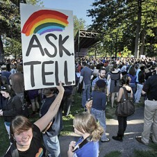 "Anti DADT sign ""Ask, Tell"" with rainbow"