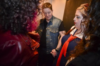 Backstage prayer circle with Ivan Coyote, Leah Lakshmi Piepzna-Samarasinha, Felice Shays and Cal Truman (not pictured). Photo by Kelsey Dickey.