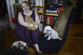 Bevin of Queer Fat Femme with her pets