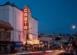 Castro Theater and Castro Street at dusk. San Francisco, California, USA