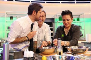 "Chef K, far right, cooking with Ludovic Lefebvre, far left, and Brian Marlarkey, center, on ABC's first season of ""The Taste."" (Photo: Paria-Sadighi/Kinetic-Content) -"