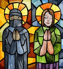Stained glass picture of a Muslim and a Christian