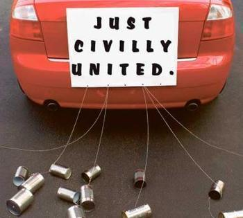 """Just civilly united"" wedding car"