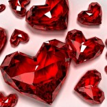 Crystal red love hearts