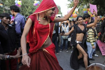 LGBT activists dancing in the streets of New Delhi, India for pride (