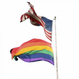 rainbow flag and US flag