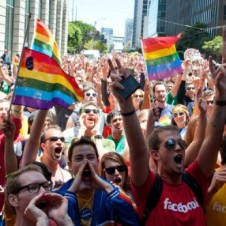 Facebook employees cheer at San Francisco Pride 2012