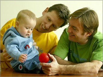 Gay dads with baby