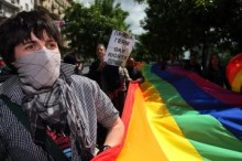 Gay pride activists in Russia