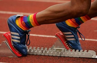 A runner's rainbow socks.