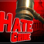 Hate crime text with gavel and US Capitol