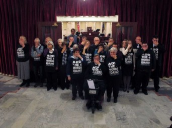 Protestors blocking the main entrance to Idaho's State Senate chamber on Monday, February 3. (Photo: John Miller/AP)