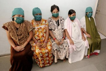 Indian surrogate mothers waiting at a clinic