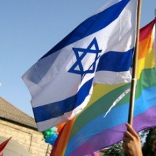 israeli flag and rainbow flag