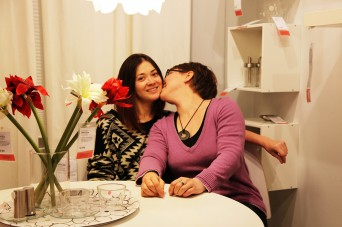 Nina and Gulia at the LGBT kiss-in protest at Ikea in Brooklyn, NY (Photo: Alexander Kargaltsev)