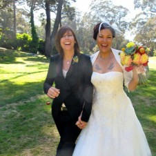 Lesbian couple getting married.