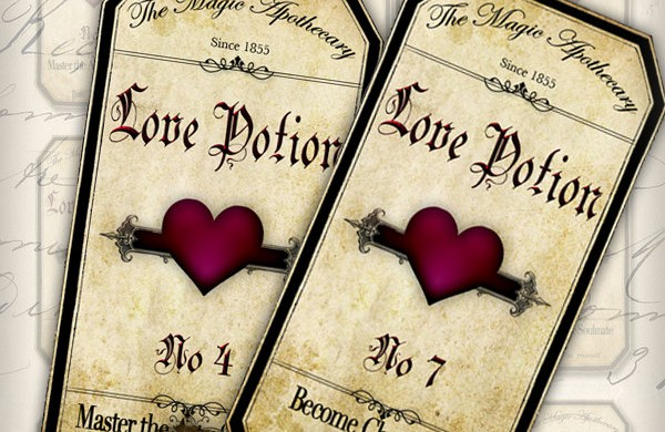 Love potion bottle labels