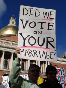 "Protestors holding ""Did we vote on your marriage?"" sign"