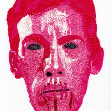 "Image: L.J Roberts, Censorship Protest Mask (David Wojnarowicz), embroidery on cotton, 17"" x 15"", 2011"
