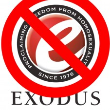 Exodus International logo with slash through it