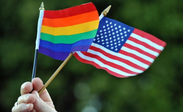 LGBT Pride flag and U.S. flag