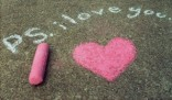 P.S. I love you chalk drawing with heart