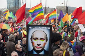 A photo of Russian President Vladimir Putin in makeup, at a rally in Amsterdam (Reuters)