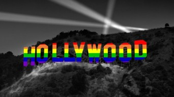 Hollywood sign in rainbow colors