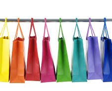rainbow shopping bags