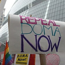 Protestors with Repeal DOMA now posters