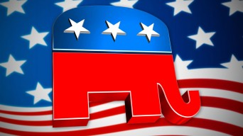 Republican elephant with US flag