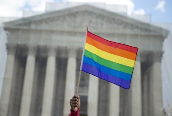 Pride flag in front of the Supreme Court building
