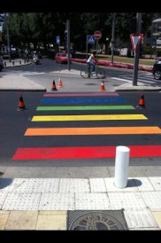 Rainbow crosswalk in Tel Aviv