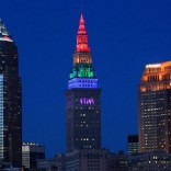 Cleveland's Terminal Tower in rainbow lights.