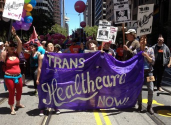 Protesters for transgender healthcare