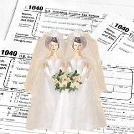 Two brides cake toppers with tax forms