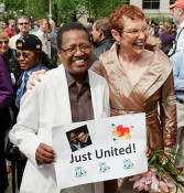 Vernita Gray and Patricia Ewert, the first same-sex couple to be wed in Illinois, at their previous civil union in 2011. (Photo via LGBTQNation)