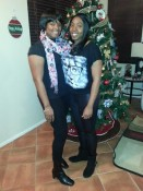 Vicki and Tiffany, couple, during the holidays